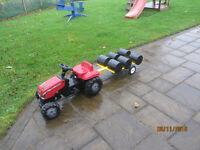 Rolly Ride on pedal tractor bale trailer with bales outdoor garden toy pedal go kart