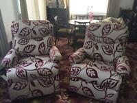 2 Seater Fabric Settee & 2 fabric recliner chairs