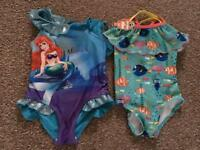 Girls Swimming Costume Disney Finding Nemo The Little Mermaid 3-4 year old