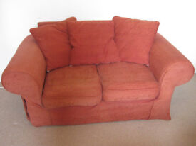 Red fabric twin seater sofa - super comfy!
