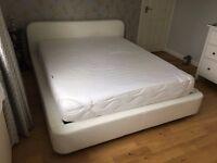 Habitat OTTORI White Leather EU King size (cm 160x200) Storage Bed
