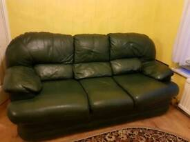 Green Leather Sofa 3 seater & 2 singles