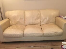 Cream leather sofa 3&2 seaters