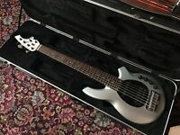 MusicMan Bongo 6 HS Sterling Silver Bass Guitar & Hard Case