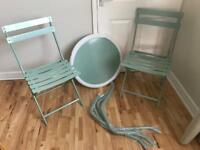 Green metal table and chairs garden bistro kitchen