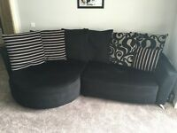 DFS POISE LEFT HAND FACING CHAISE END & 3 SEATER SOFA - SILVER AND BLACK