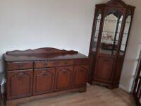 Teak side board and matching corner cabinet