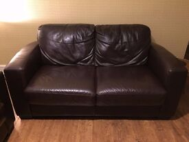 2 x two seater leather sofas. 3 years old, very good condition.