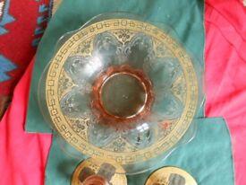 Antique decorative rose glass bowl & candlestick set. Gilt edges