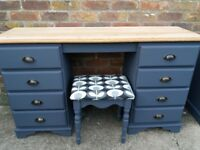 upcycled shabby chic dressing table / desk with matching stool