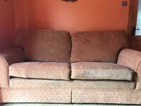 Large sofa easy seating 4 people Orange fabric
