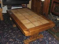Large Oak Tiled Table