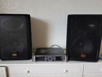 PA system wharfedale evp-x12 speakers, amplifier and stands
