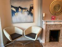 Lovely pair of Leather Chairs, Cream with Brown cushion