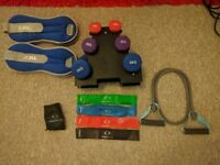 Home gym equipment (dumbbell, elastic band, ankle weight)