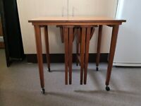 Lovely solid wood Retro / vintage MCM nest of 3 tables £25