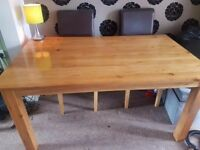 Solid Oak Dining Table ex condition. Chairs are included for free as have marks £50