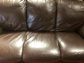 Very nice chocolate brown leather 3 seater sofa