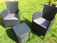 Rattan-effect set of 2 garden chairs and table