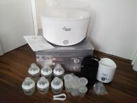 Tommee tippee steriliser, bottle warmer & bottles