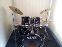 Retired drum teacher has a Mapex 'Venus' series drum kit with a choice of cymbals for sale.