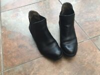 Fly black leather ankle wedge boots size 37