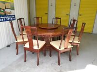"8 seater 60"" round rosewood table & 8 chairs for sale: bird & flower design"