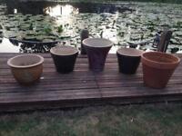 5 garden pots