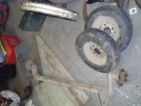 Trailer axle complete with 8 inch wheels
