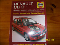 Haynes service and repair manual for Renault Clio ( Y to 55 reg)