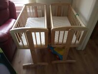 Crib/cots x2 Mothercare swing cribs