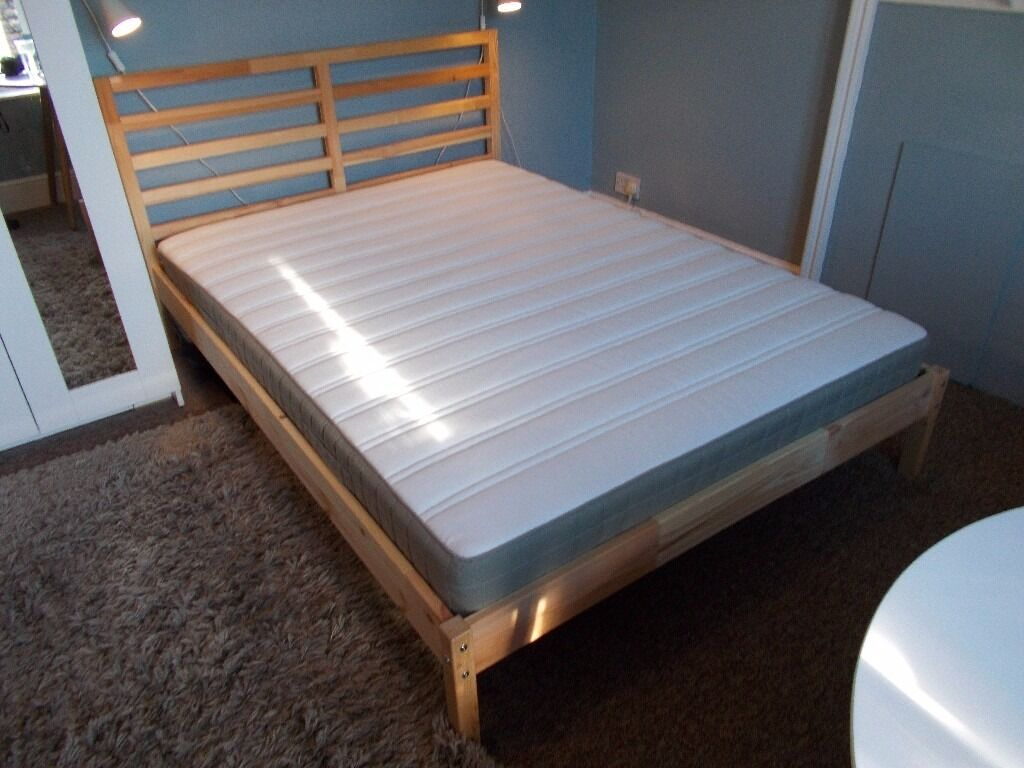 double bed frame ikea tarva and mattress solid wood. Black Bedroom Furniture Sets. Home Design Ideas