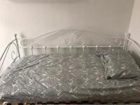 White single metal bed frame