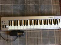 M Audio semi weighted 61 key keyboard and sustain pedal