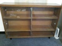 Wooden Bookcase with Glass Sliding Doors