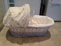 Beautiful white MOSES BASKET + MATTRESS in EX condition!