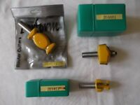 3 new, wax-sealed PERFORM 1/2inch TCT router cutters - in original packaging