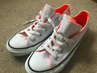 BRAND NEW White with Orange Low Top Converse Trainers