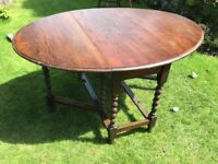 Solid oak dining table six matching chairs