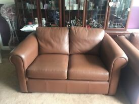 Genuine leather handmade compact two seat sofa brown