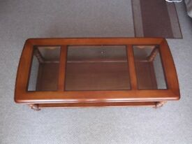 Cherry Oak coffee table with glass panelled top