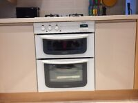 White glass fan electric double hotpoint oven