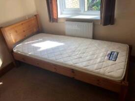 Single bed with mattress. Pine.