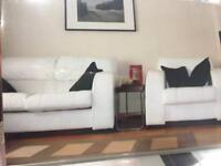 DFS leather sofa + armchair -used