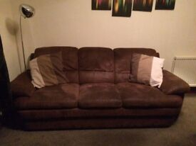 Set of Brown Suede Sofas