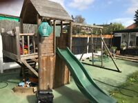 Wooden Playhouse Slide Swing