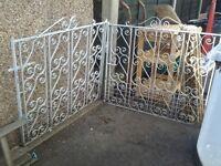 Pair heavy wrought iron gates