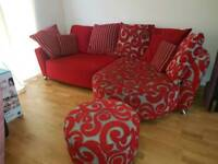 Maroon red and silver corner chaise sofa with footstall