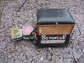 Old Fishing box/seat with good selection of tackle/floats/feeders/bait boxes/shot etc.