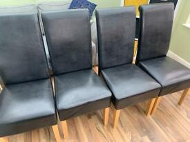 4 x leather dining room chairs